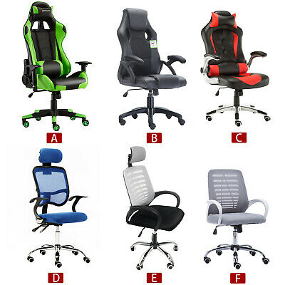 JL New Gaming Chair Adjustable Fx Leather Racing Office Executive Recliner UK