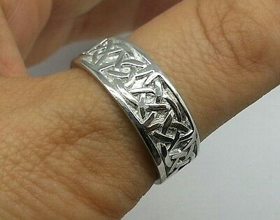 R280 Genuine SOLID 9K 9ct White Gold HEAVY WIDE Celtic BAND Ring Wedding size U