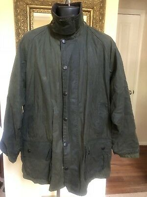 Barbour Classic Beaufort England Waxed Cotton Jacket Coat Large A150 C46 117CM