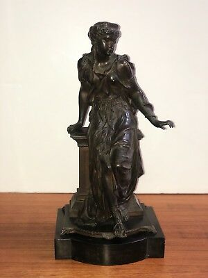 Auguste Joseph Peiffer Bronze Sculpture Seated Woman Snake Antique Cast Signed