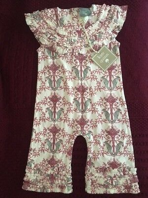 Kate Quinn Organics Jumpsuit One Piece Woodpecker print Size 12-18 month New