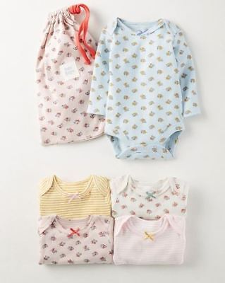 Ex Baby Boden Girls 4 Pack Floral Sripe Bow Bodysuits Vests Age 6 12 18 24 Mths