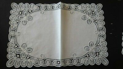 Beautiful Antique Delicate Linen Lace placemat set by Diane Dergent Brussels
