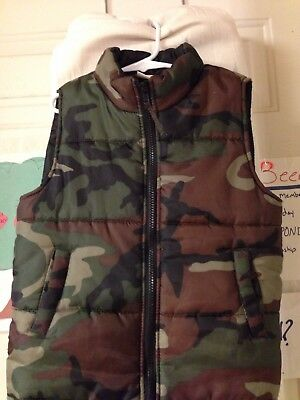 Open Trails Boys Puffed Hunting Vest Camo Small 6-7.