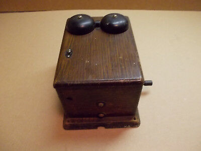 Antique Western Electric Phone Telephone Oak Ringer Box with Crank