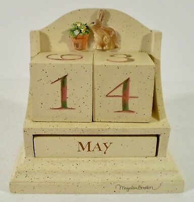 Cute Bunny Sniffing Pot of Flowers Wood Perpetual Desk Office Calendar