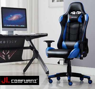 JL Game Chair PC Computer Desk Swivel Chair Race Sports Lift Recliner Fx Leather