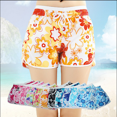 Ladies Girl Floral Flower Print Beach Board Swimming Hot Pants Shorts UK STOCK