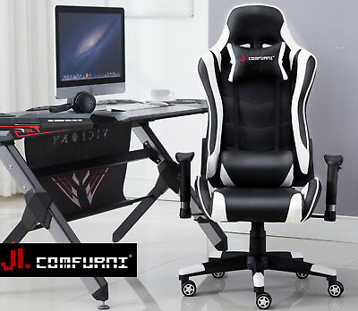 JL Comfurni Gaming Chair Office Executive Racing Sports Fx Leather Lift Recliner