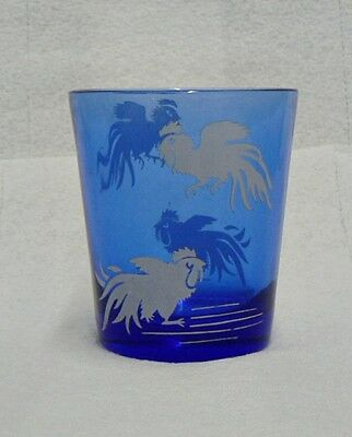 Beautiful Cobalt Blue Depression Glass ? Juice Glass With Roosters
