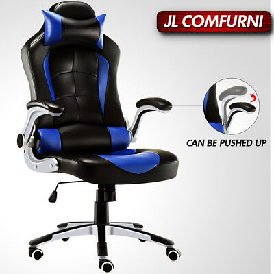 ⚡Office Chair Racing Sport PU Leather Swivel Chair Lumbar Support by JL Comfurni