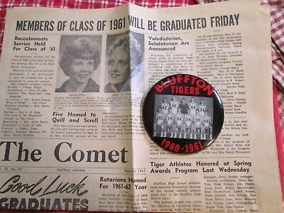 Bluffton Tigers 1960 - 1961 Button & The Comet Newspaper Class Of 61 Bluffton In