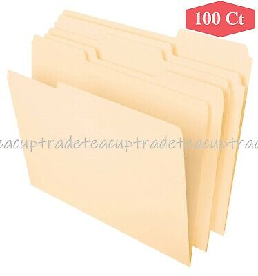 Pendaflex 100 Ct File Folders 1/3 Cut Assorted Top Tab Letter Size Manila