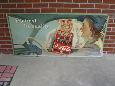 Large 1942 WW2 Theme Coca Cola Cardboard Advertising Sign