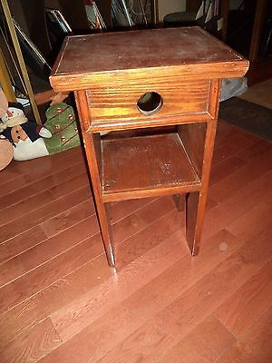 Antique Vintage Handmade Wooden End Table Plant Stand Keyhole Accent