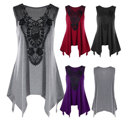 8cd11beb3d917a Women's Gothic Plus Size Lace Insert Tank Top Lace Panel Cami Tank Top M-2XL