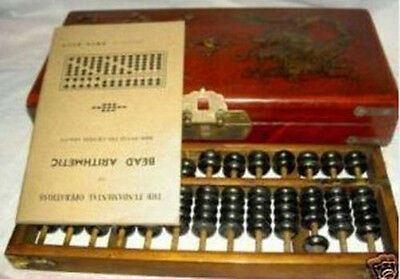 Chinese old famous tally tool abacus have dragon leather phoenix box