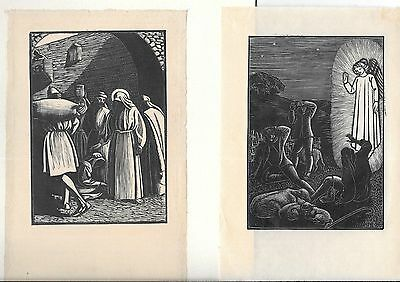 Lot of Two 19th-Century Antique Woodcuts