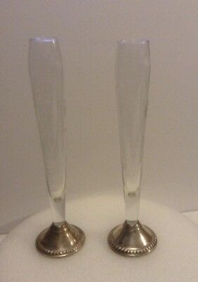 Pair Vintage Etched Glass Vases With Sterling Silver Bases.