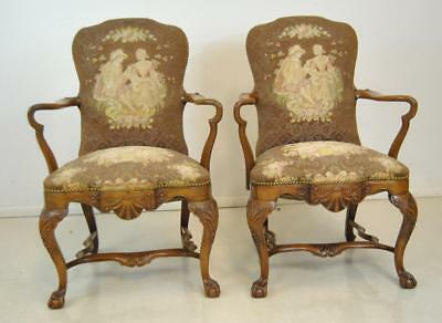 Pair Of Hand Carved Mahogany French Style Chippendale Needlepoint Chairs