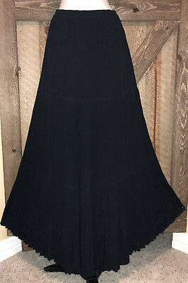 cae1d5d27 DOUBLE D RANCH Sz M Black Three Tiered Broomstick Maxi Skirt Rodeo Ready