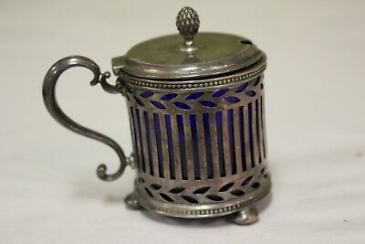 Tiffany Sterling Silver Mustard Pot w/ Cobalt Blue Liner