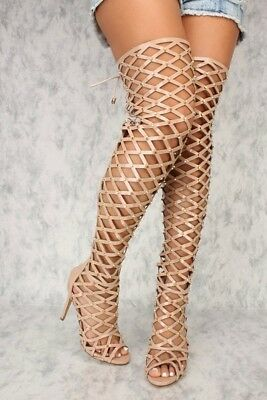327e26950ea Sexy Women s Over Knee Thigh Sandals Gladiator High Heels Hollow Out US  size 7