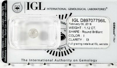 1.12ct. Diamante naturale certificato in blister IGL I color purezza I3 diamond