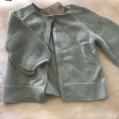 Zara Baby Girl Light Green Cardigan Top Clothes Sweater Brand New 18-24