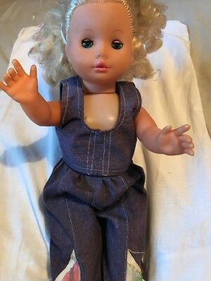 Vintage 60s / 70s Baby Doll In Denim Dungarees