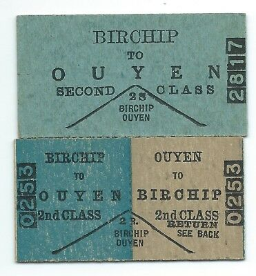 2nd Class Single & Rtn Tickets BIRCHIP - OUYEN