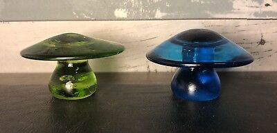 Lot of 2 Vintage Mid Century Glass Mushroom Figures Blue & Green