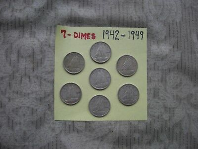 1940 - 1949 Canadian Dimes  Lot Of 7
