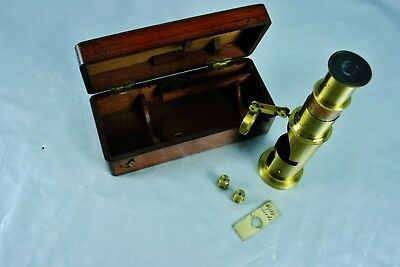Antique Small Brass Microscope w. Original Box, 19.c