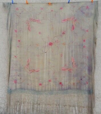 Antique Beautiful Chinese Hand Embroidered Silk Piano Shawl Multi Color (Ps213)