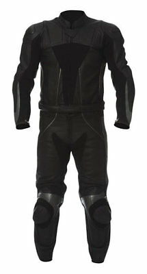 BLACK SPORTS-2 Piece Motorbike/Motorcycle Leather Suit Racing-MotoGp-CE APPROVED