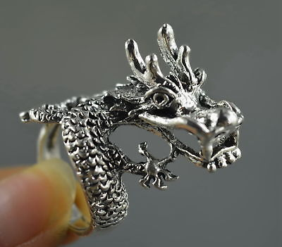 Collectable Handwork Decor Old MIao SIlver Carve Roar Dragon Ancient Noble Ring