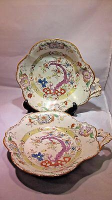 Pair Antique Mason's Masons Handled Dishes~Floral Multicolored,#275