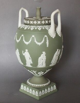 Wedgwood Prestige Green Jasper Neo-Classical Apollo & The Muses Two Handled Vase