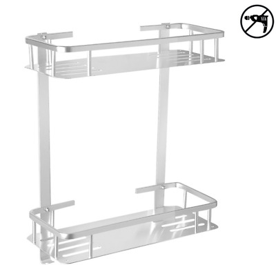 Aluminium Two Tier Wall Hanging Rectangle Bathroom Shelf