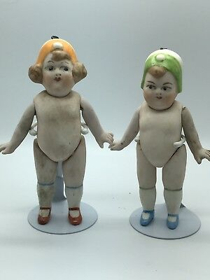 Antique miniature Limbach Porcelain Doll, 2 bisque doll with Cap from Germany