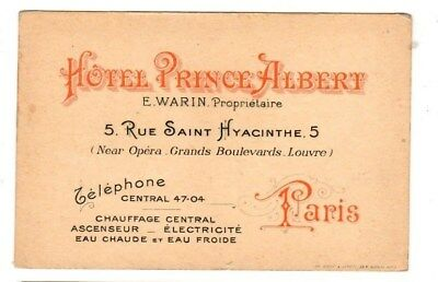 Original Advertising Postcard Map of Prince Albert Hotel Paris France Circa 1890