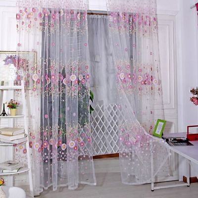 Window Sheer Tulle Scarf Sunflower Voile Curtains Living Room Pattern 1*2 M