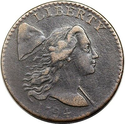 1794 Liberty Cap Large Cent, Head of '94, scarce S-42, R.4, strong VF detail