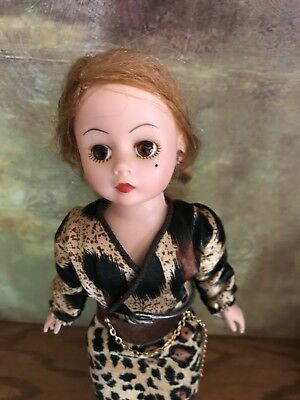"Vintage Madame Alexander 9"" Cissette doll w/Beauty Mark""Coral and Leopard"" dress"
