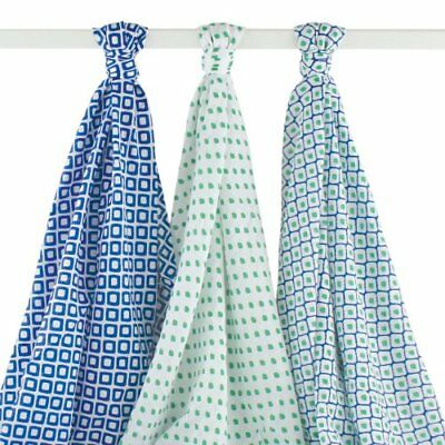 Hudson Baby Muslin Swaddle Blankets Blue 3 Count