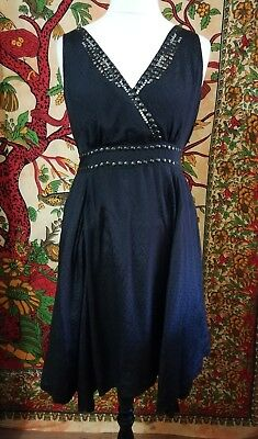 Vintage Goth Rock Boho Metal Beaded Studs Black Pixie Hem Full Skirted Dress 14