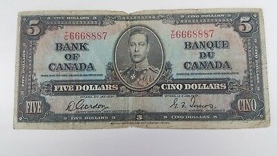 Bank Of Canada 1937-  $5 Rare  Canadian Bank Note 3 Digit Note Selling   For $60