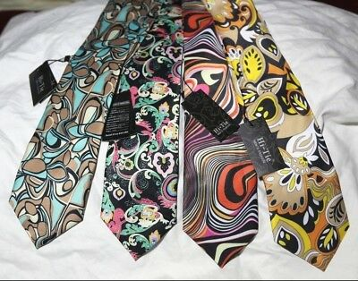 NEW_Lot Of 4_HI TIE Silk Ties_1960's Type Mod, Hipster Design HandMade Silk Ties