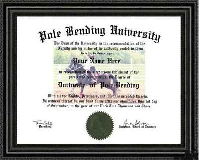 Pole Bending Doctorate Diploma / Degree Custom made & Designed for You RODEO